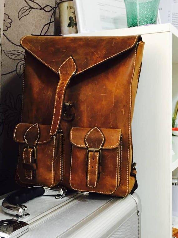 Brown-Taupe Leather BackPack, School BackPack, Travel BackPack, Handmade BackPack,  Man Overnight BackPack, Travel Bag