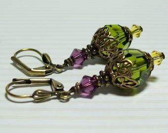 Olivine Swarovski Crystal Earrings. Olivine, Amethyst, Topaz. Brass and Crystal. Green Earrings. Multicolor Earrings.