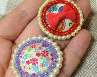 Pearl LIBERTY brooch, pearly pin, pearly beaded brooch, LIBERTY pin, bead embroidery brooch, one of a kind