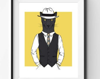 Old Style Puma Gangster Print, Animal Print, Fashion Animal, Puma Digital Print, Digital Download, Animals in Clothes, Living Room Decor