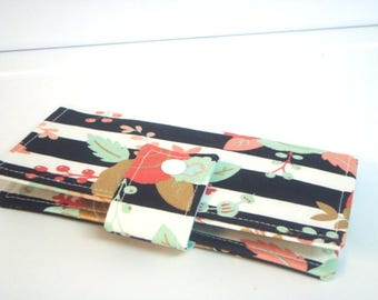 Fabric Checkbook Cover, Holder -  Black and White Stripes with Floral