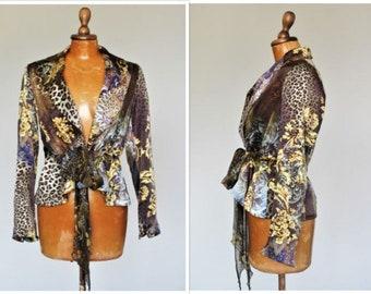 Veste en soie Blazer africain Ankara veste Ankara Blazer Patron Couture Peplum robe de soirée léopard veste Kimono imprimé d'inspiration Versace