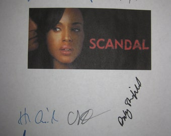 Scandal Signed TV Script Screenplay X10 Autographs Kerry Washington Shonda Rhimes Tony Goldwyn Henry Ian Cusick Columbus Short Jeff Perry