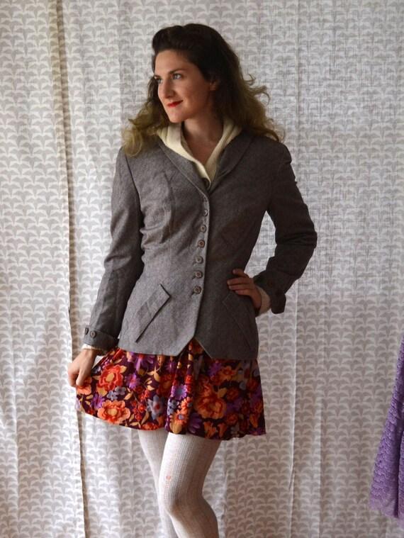 Blaze A Trail Jacket | vintage 40's gray tailored blazer | small medium