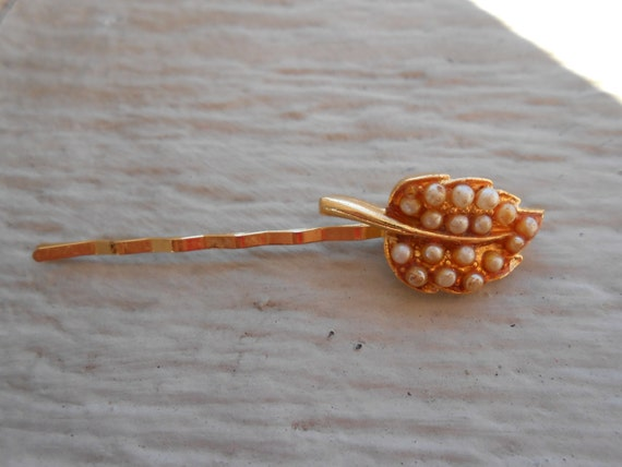 Vintage Leaf W/ Pearls Hair Clip.  Bobby Pin, Kids, Mom, Gift, Birthday. Flowers