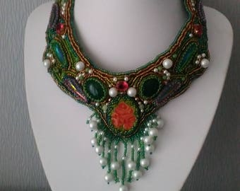 "Bead Embroidery Necklace ""Russia"", handmade, folk decoration,author's decorations bib necklace"