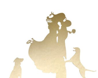 Gold Bride and Groom Acrylic Cake Stand Topper Wedding Cake with Dogs Silhouette Cake Toppers