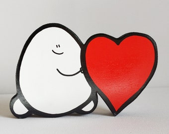 Wooden Chep & Heart - A Handcut, Painted Wooden Ornament