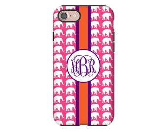 Monogram iPhone 8 case, elephants iPhone case,  iPhone 7 Plus case/8 Plus case, iPhone 7 case, iPhone 6s case/6s Plus/6/6 Plus/5s case