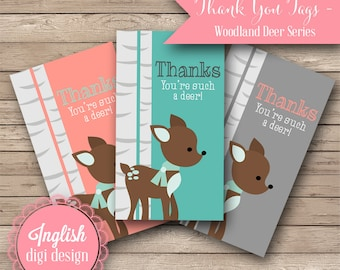 Printable Deer Thank You Tags - Woodland Deer in Coral, Teal and Gray - INSTANT DOWNLOAD