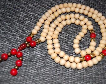 Wood Necklace,Buddhist Necklace,Tibet Buddha,Red Stone Beads,Spirituality,108 mala Prayer,Man,Woman,Bracelet,Protection,Meditation,Ethnic