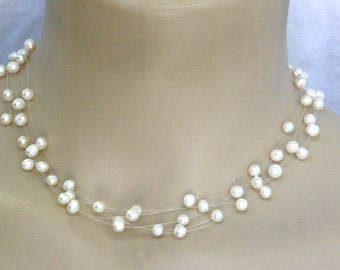 Floating fresh water pearls delicated choker necklace New Exclusive