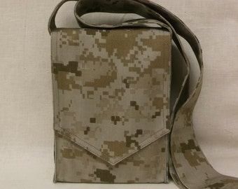 Tan Digital Camouflage Mini Messenger Bag
