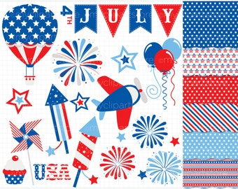 Clipart Combo - 4th of July / Independence Day / Star Spangled Clip Art / Digital Clipart - Instant Download