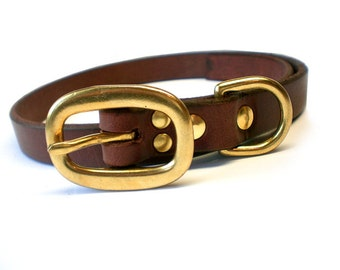 """3/4"""" Rich Brown Chahin English Bridle Plain Leather Dog Collar with Solid Brass Hardware and Oval Buckle"""