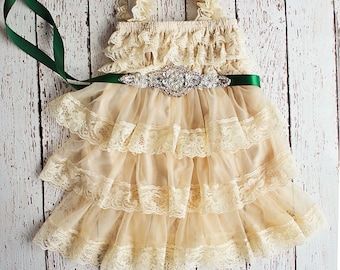 Rustic Flower Girl Dress, Tan Lace Dress- Rustic Lace Flower Girl Dress, Wheat Lace Rustic Dress, Birthday Dress, Thanksgiving Outfit