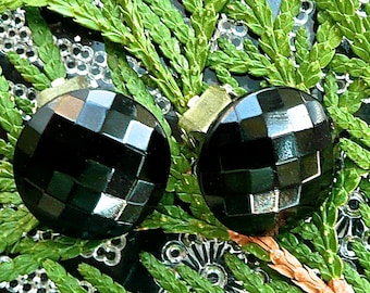 Vintage Earrings - Bohemian Black Glass - Clip Ons - 1950's - Black - Multi Faceted - Round Black Glass Earrings - Mid Century Earrings