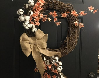 "19"" Cotton and Wildflower Wreath"