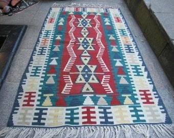 turkish kilim rug deco art kilim small turkish kilim  kilim decor     359