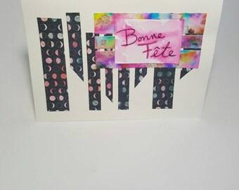 Greeting card, birthday, moon, watercolor