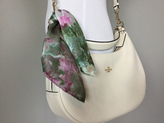 "16"" Silk Purse Scarf or Luggage Identifer, 100% Silk Satin,  Ice Dye Tie Dye Olive Green Purple Raspberry Purse Scarves #213"