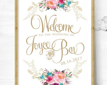 Floral wedding signs - wedding welcome sign - wedding signs - wedding entrance sign - wedding reception - wedding welcome sign -custom signs