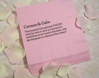 wedding trivia napkins fun fact napkins personalized wedding napkins Set of 50 napkins