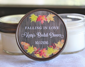 Set of 12 - 4 oz Fall Bridal Shower Candle Favor//Autumn Shower Favor//Falling In Love Favor//Fall Leaf Favor//Personalized Soy Candle Favor