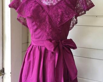 Vintage Magenta 70's prom dress