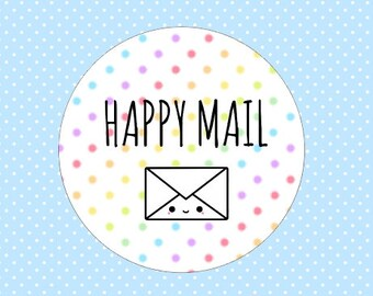 Rainbow Happy Mail Stickers Polka Dot Happy Post Stickers Envelope Order Packaging Mailing Stickers Kawaii Colorful Snail Mail Stickers