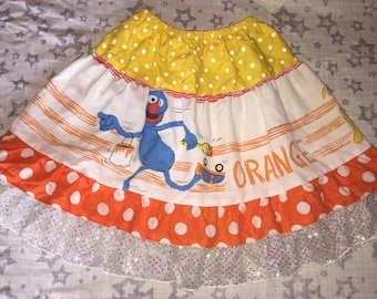 Sesame Street Skirt made from Repurposed Vintage Bedsheet and New Fabric - Girls' size 5/6