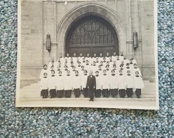 Original apx 1920's Centerville Indiana Philomath Area Original Black & White Church Choir  Photograph Gould Estate