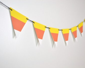 Candy Corn Halloween Pennant Garland