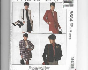 UNCUT Sewing Pattern McCalls 5584 for Coat or Jacket, Sz 8-10-12