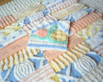 """Vintage Chenille Bedspread Squares-Blue,Peach,Yellow-25-6"""""""