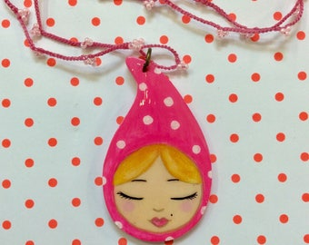 Pink gnome girl pendant on crochet necklace, Zoownatas