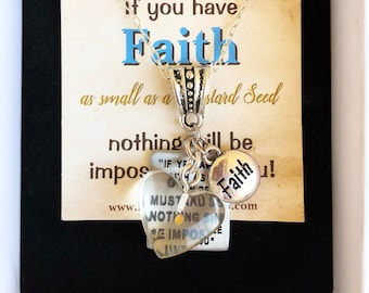 Mustard Seed Long Necklace Jewelry from Matthew 17 20 Faith Prayer Group Baptism Mother's Day Gift