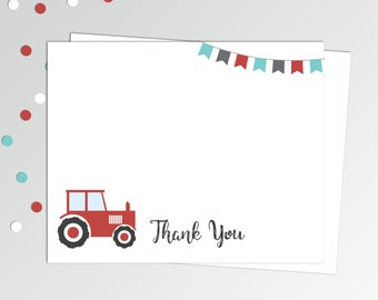 "Red Tractor Thank You Cards - Tractor Thank you Card - Printable Thank You Note - Birthday Thank You Notes - 4x5"" Flat Card - Printable Card"