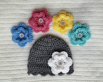 Crochet baby hat with interchangable flowers, baby girl gifts, gray newborn hat, baby shower gift, newborn photo prop, crochet baby beanie