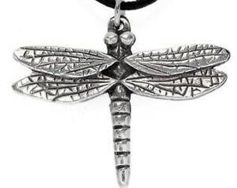 Pewter Dragonfly Fairy Faerie Fey Pendent on Leather or Cotton Cord (323)