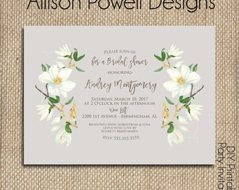 Magnolia Engagement Party, Bridal Shower, Wedding, Shower  Invitation - Print your own - Watercolor, gold and white