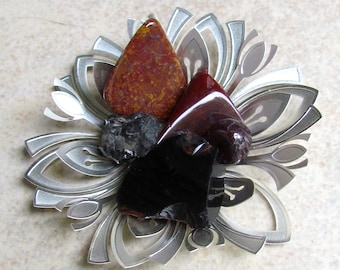 ROOT CHAKRA-Crystal gift bags-grounding stones: jasper, obsidian, apache tear, tektite, 25% off
