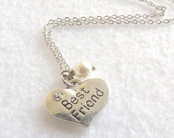 READY to Ship, Best Friend Necklace, Heart Necklace with White Swarovski Pearl, Valentine's day, Gift for BFF, BFF Jewelry, Thank you gift