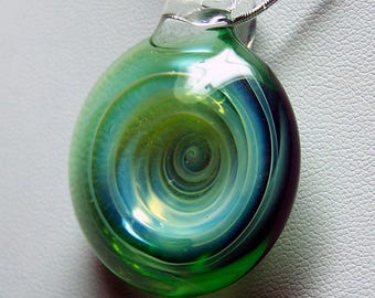 Green silver spiral vortex whirlpool glass lampwork pendant handmade in the flame
