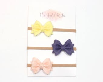newborn headband set - baby headbands - easter bows - baby girl - baby bow headbands - baby girl headband - ROSE
