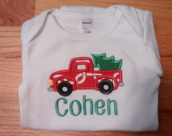 Monogrammed/Personalized Truck with Tree Applique Shirt, Boys Christmas Shirt