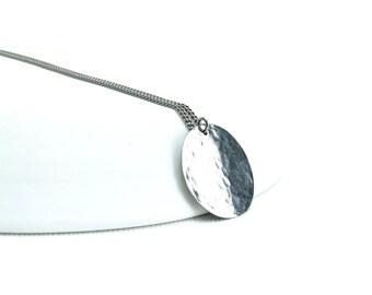 Titanium Necklace Large Disc, Niobium Circle Disk Necklace, Modern Hypoallergenic Niobium and Titanium Necklace for Sensitive Skin