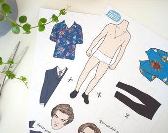 Leonardo DiCaprio Paper Doll, leo, romeo and juliet, leo, dress up doll, DIY gift, geekery