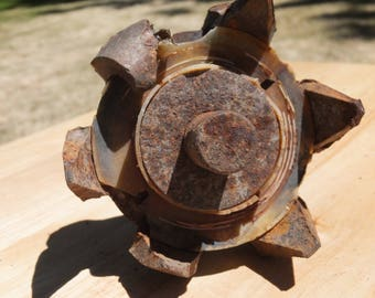 Salvaged Industrial/Farming Heavy Duty Rusty Gear Sprocket with Spindle- yard art, assemblage supplies