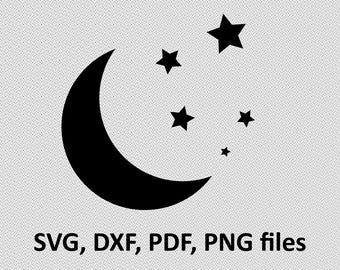 Moon SVG/ Moon DXF/ Moon Clipart/ Moon Files, printing design, cutting, silhouette, DXF, Moon vector, night moon, stars svg, star svg